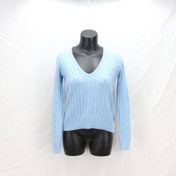 Eddie Bauer Sweaters V Neck Baby Blue Angora Sweater Womens Ps
